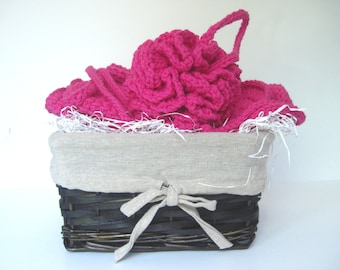 Crochet Spa Gift Basket - Wash Cloths & Scrubbies - Hot Pink Gift Set
