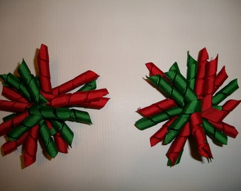 The Hair Bow Factory Red and Green Christmas Korker Hair Bows Set of 2