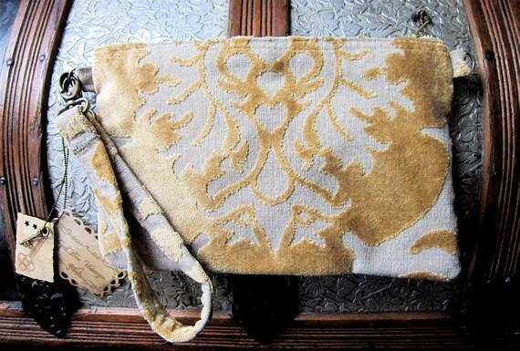 MINI MIA Carpet Bag: Buttercream Gold Cut Velvet Make Up Clutch with matching wristlet OR shoulder strap