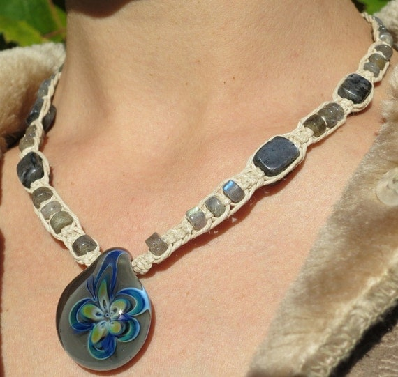 How To Make Hemp Necklaces: Items Similar To Hemp Jewelry Macramé Hemp Necklace, Glass