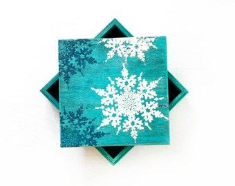 Blue Christmas Box  Memory Box Keepsake Box Christmas gift Treasury Box Jewelry box Distressed box Wooden Box