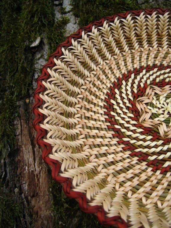 Handwoven wicker plate. Rustic interior home decor. Eco friendly gift. Ethnic table decor. Green and mahogany red .