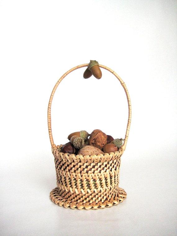 Rustic wedding flower girl basket Hand woven basket Wicker basket Rustic home decor Door hanging ornament Gift under 40