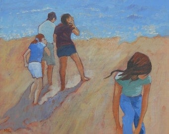"""Seaside Oil Painting """"Children on the Beach"""". Original Artwork. 12 x 12. Free Shipping. Ready to Hang."""