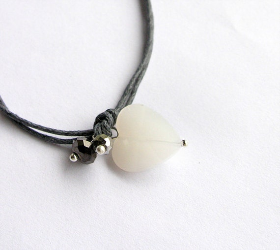 Bracelet heart white, gray, love, tiny