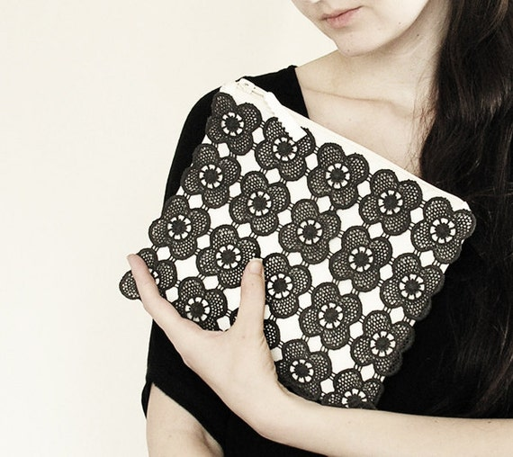Black lace white clutch -  fashion, purse, hand painted accessory OOAK