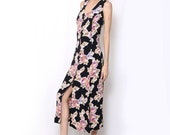 Vintage 90s Shabby chic Black Pink Floral Button Down Dress