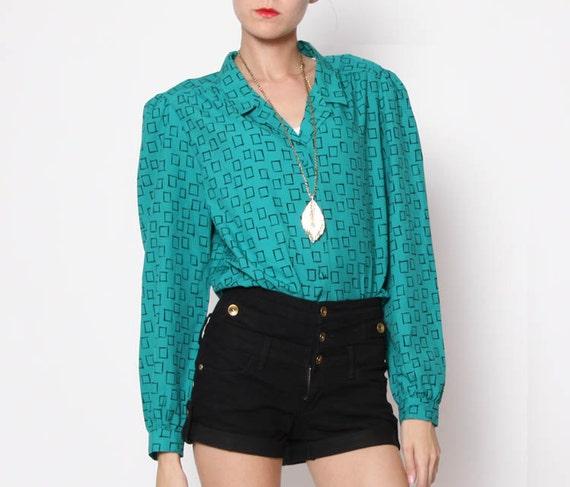 SALE - Vintage 80s Teal Geometric Shape Button Down Shirt