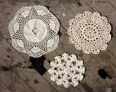Set of Three Vintage Off-White Doilies