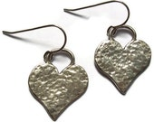 Hammered Heart Sterling Silver Earrings Sale Priced