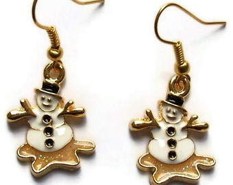 Christmas Snowman Earrings - Christmas Jewelry