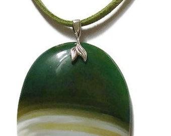 SaLe - Agate Pendant - Sterling Silver - Green Velvet Necklace