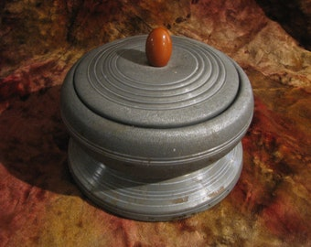 Antique ART DECO 1920's Powder Box Musical Metal and Bakelite Knob