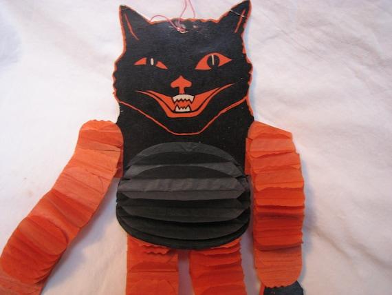 Mid Century Halloween Honeycomb Tissue Dancing Cat Decoration Beistle