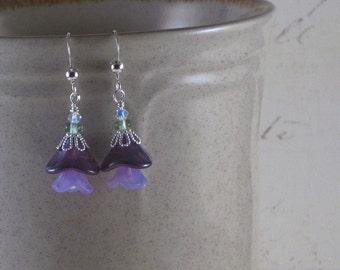 Purple Power Flower earrings