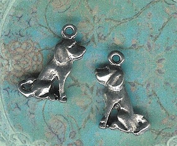 Low Close Out Price-Antique Silver Dog Charm- 6 pieces