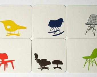 Eames Chair Letterpress Coasters - Set of 6