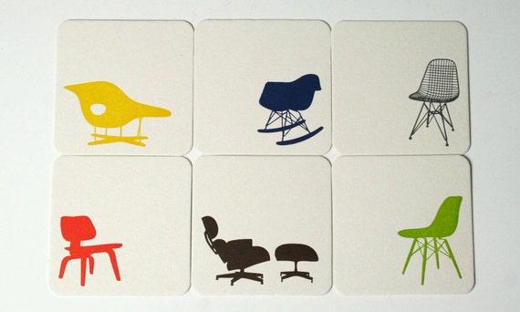 Eames Chair Letterpress Coasters - Set of 6