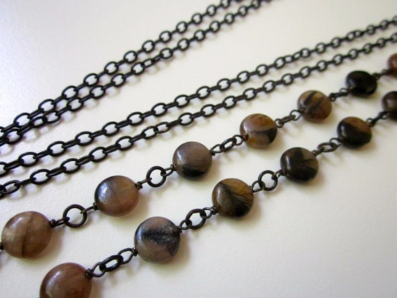 Zoo Music Girl - small warm brown and black chiastolite andalusite round flat gemstones and extra long black brass layering necklace