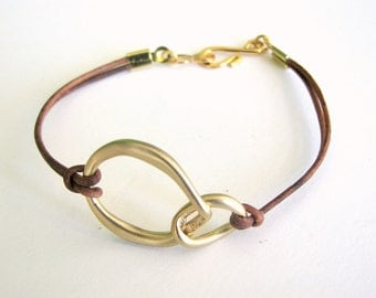 Thin Brown Leather Bracelet with Gold Metal Connector