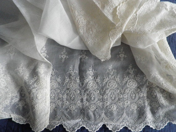 Wide Cotton Eyelet  Lace Skirt Fabric Vintage
