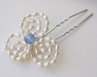pearl flower pin, French beaded ivory freshwater pearl and crystal flower silver hair pin for wedding or prom