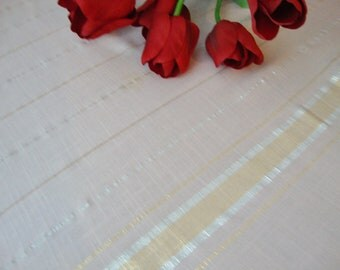 Pink Tablecloth Metallic Stripes Vintage Tablecloth Table Linens Retro