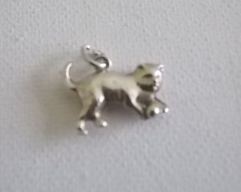 Vintage Cat With Ball Silver Charm-RARE-SALE PRICE