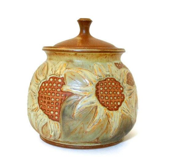 Studio Pottery Sunflowers Urn