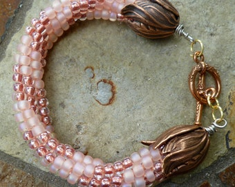"""Beaded Kumihimo bracelet, rose-pink swirl """"Cotton Candy"""", statement bracelet, beaded braided rope, gifts for her"""