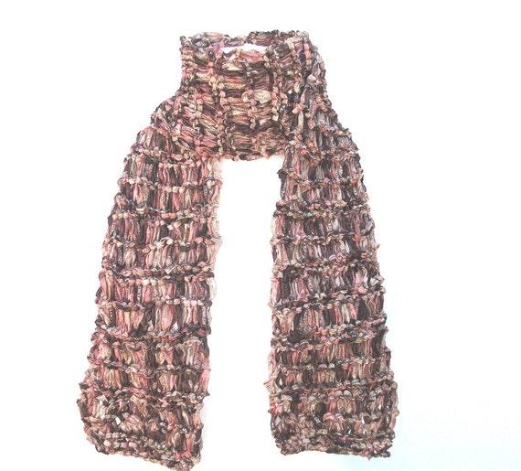 Browns and gold sari ribbon scarf.