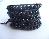 Wrap beaded bracelet.Beaded Black Onyx  Wrap Bracelet on Black  Leather Cord .Women.Men.Unisex.