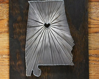 Stained Wood String Art - State String Art - Nail Art - Birmingham, AL String Art - Birmingham - Alabama
