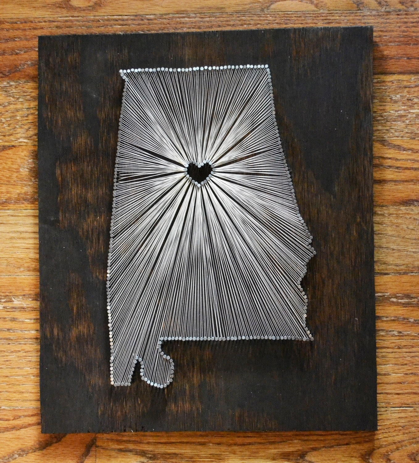 String Art: Stained Wood String Art State String Art Nail Art