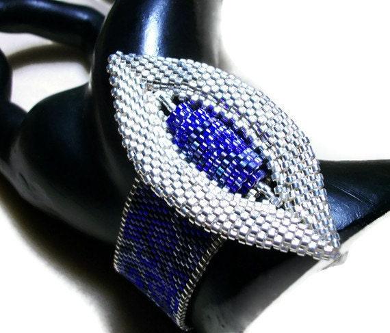 PDF Pattern: Beadwoven Marquis Buckle Bracelet - Purple & Silver