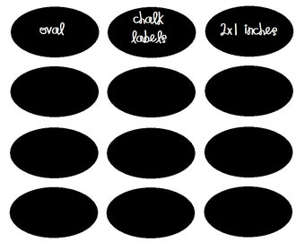 Oval Vinyl Chalkboard Labels (2 x 1) fit Wine Glasses (40-count)