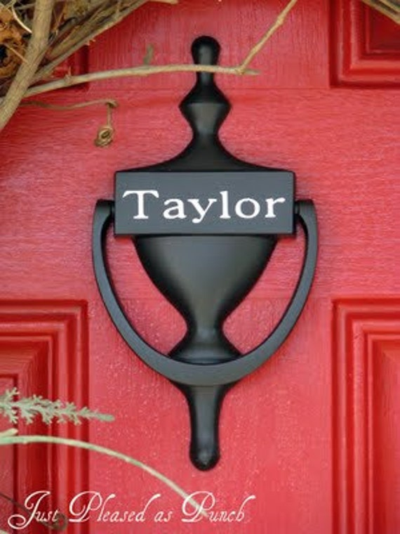 Items similar to vinyl door knocker decal personalized on etsy for Custom made door knockers