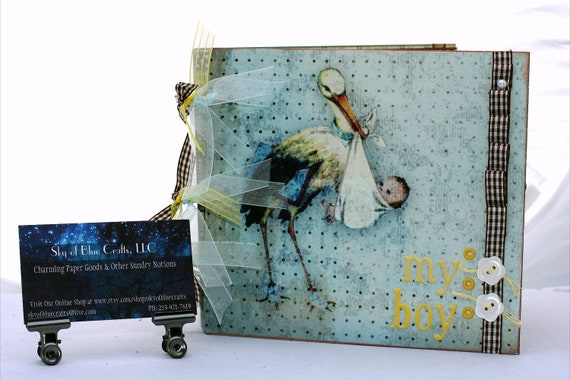 Baby Boy Photo Album Scrapbooking Chipboard  The Stork and My Boy in Blue Yellow and Brown