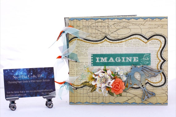 Chipboard Album Imagine with Wooden Bird and White and Peach Flowers
