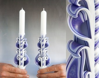 Taper candles - Candle set - Carved candles - Purple candles - Bougies sculptees