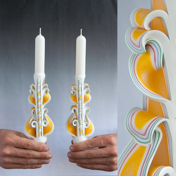 White candle set taper candles carved