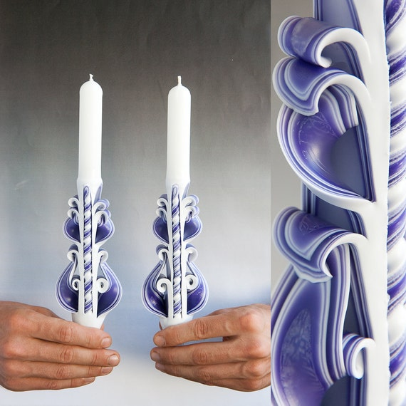 Taper candles candle set carved purple