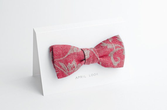 Floral red bow tie - double sided