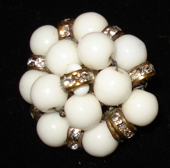 Vintage Les Bernard Earrings - White Glass with Rhinestones