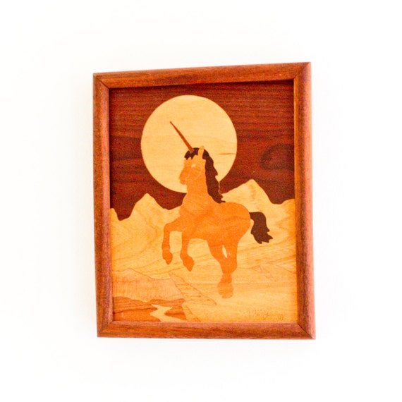 vintage marquetry wood art : unicorn and moon, mountains .. handmade OOAK