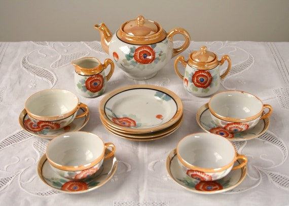 Vintage toy tea set, peach luster ware, Japan