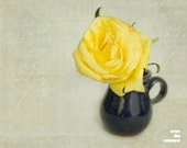 Yellow rose in a Blue pitcher, Shabby chic home, Nature photography,  Floral still life, French country home, Flower print, Engagement gift