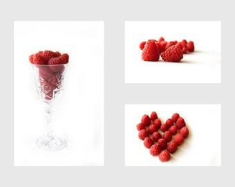 Raspberries, Food photography, Red Raspberry, Kitchen art, Red and White, Minimalist art, Fruit print, Restaurant décor,Dining room wall art