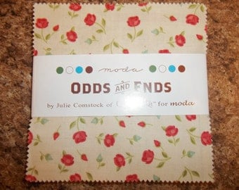OOP Odds and Ends Charm Pack By Julie Comstock of Cosmo Cricket for moda retro looking, with a twist 42 5 inch squares