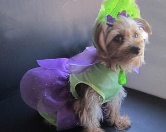 Special order handmade pet costume violet flower